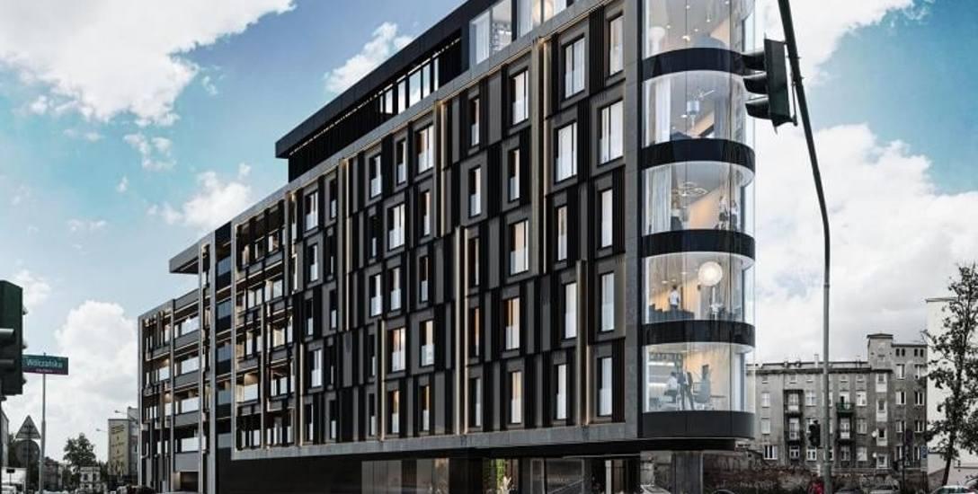 Tak będzie wyglądał nowy luksusowy apartamentowiec, który stanie na trójkątnej działce u zbiegu ul. Andrzeja Struga i ul. Wólczańskiej w centrum Łod
