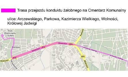 Trasa przejazdu konduktu żałobnego na Cmentarz Komunalny. Ul. Arczewskiego, Parkowa, Kazimierza Wielkiego, Wolności, Królowej Jadwigi
