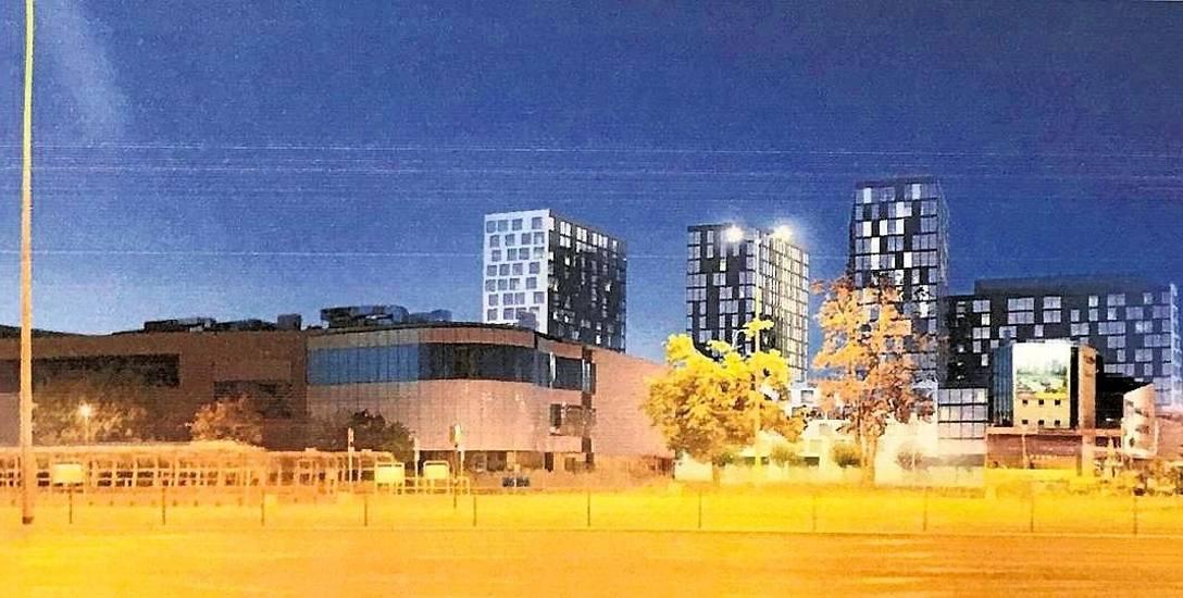 Tak ten rejon widziałby inwestor. Bloki byłyby wyższe niż hotel Ibis (po lewej). Projekt wykonał Wojciech Targowski, twórca Europejskiego Centrum So