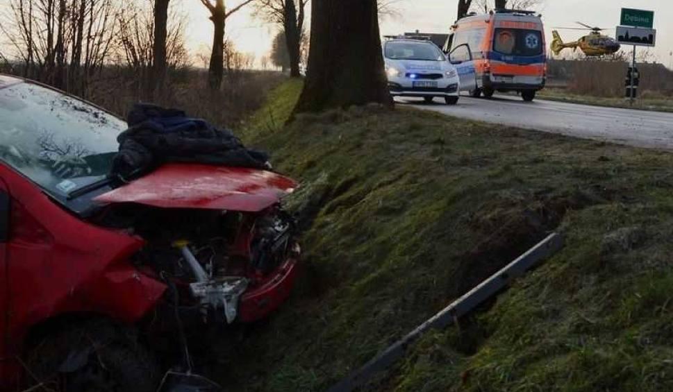 Film do artykułu: Wypadek koło Nowego Stawu 31.01.2018. Samochód wypadł z drogi i dachował w rowie