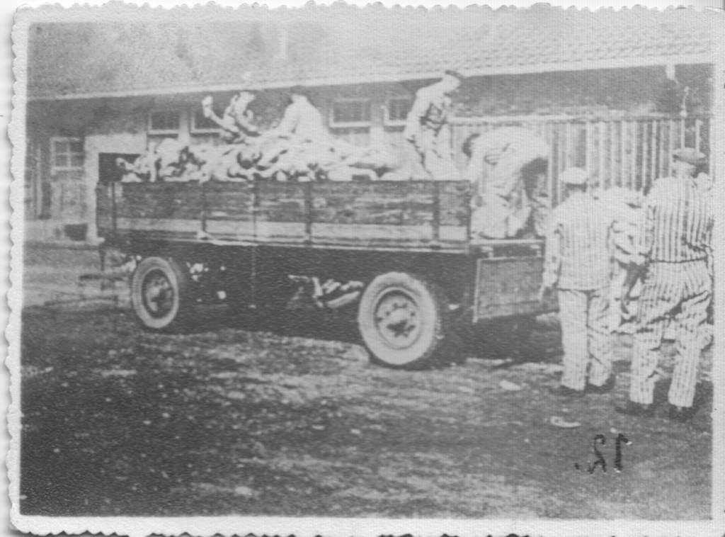 Pierwsze zdjęcie zrobione w Auschwitz-Birkenau przez więźniów z ukrycia. Wyładunek ludzkich zwłok.