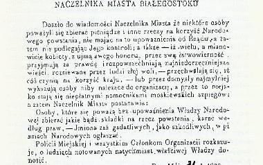 Rozkaz naczelnika miasta Białegostoku (najprawdopodobniej Adolfa Białokoza) z dnia 31 maja 1863 roku