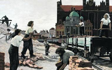 """""""Spółdzielnia Pracy odbudowuje Gdańsk"""" obraz  Kazimierza Śramkiewicza, 1950 rok, olej na płótnie, własność Muzeum Narodowe w Warszawie"""