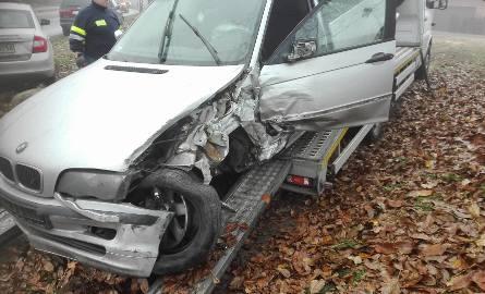 Wypadek w Łaskowicach. Kierowca bmw nie zachował ostrożności. Jedna osoba ranna [FOTO]