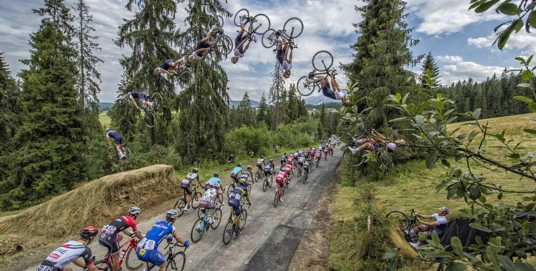 Skok nad peletonem. Szymon Godziek z Suszca wykonał salto na etapie Tour de Pologne