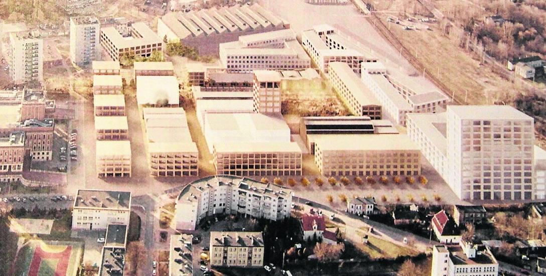 Tak według projektantów z biura Analog mogłoby wyglądać nowe śródmieście Dąbrowy Górniczej. W środku widać charakterystyczny budynek z wieżą widokow