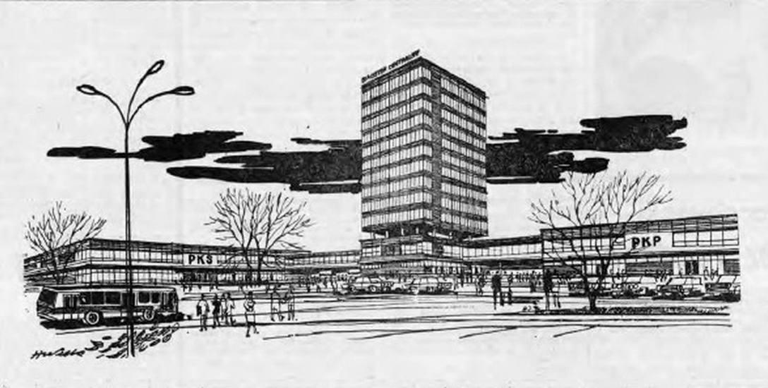 Rysunek Henryka Wilka wykonany na podstawie projektów warszawskich architektów. Za Gazetą Białostocką 1975 r.