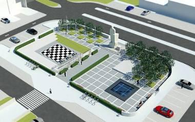 """Przestrzeń przy pomniku Józefa Wybickiego wzbogaci się o nowy element, a będzie nim """"Ławka niepodległości""""."""