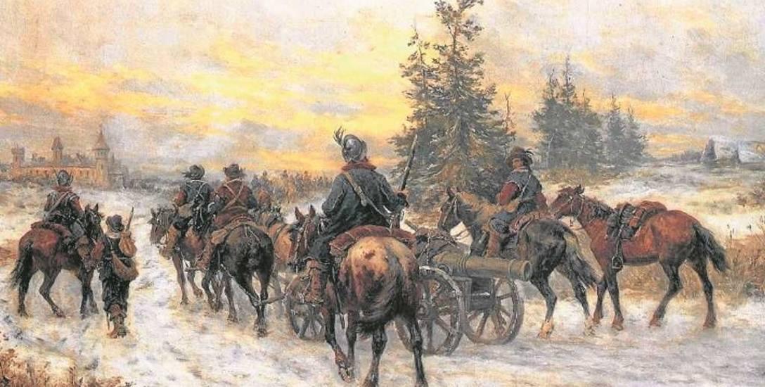 """Józef Brandt, """"Pochód Szwedów do Kiejdan"""". 20 października 1655 r. hetman Janusz Radziwiłł podpisał pakt wiążący Litwę ze Szwecją"""