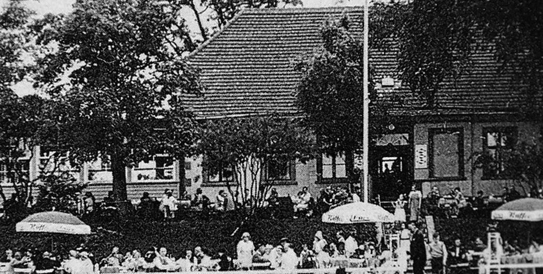Restauracja Försterei Jungfernberg (zdjęcie z roku 1940) na dzisiejszym kąpielisku Dziewoklicz, rozebrana już po wojnie