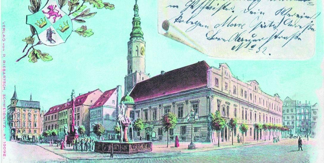 Ratusz w Świdnicy, pocztówka z roku 1902