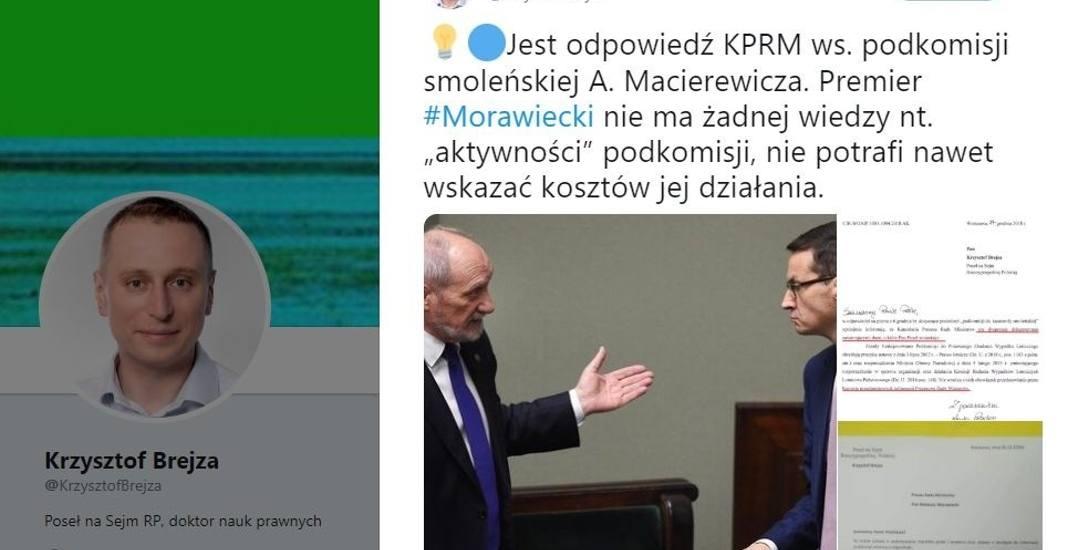 Poseł Krzysztof Brejza na Twitterze poinformował o odpowiedzi, którą otrzymał z KPRM