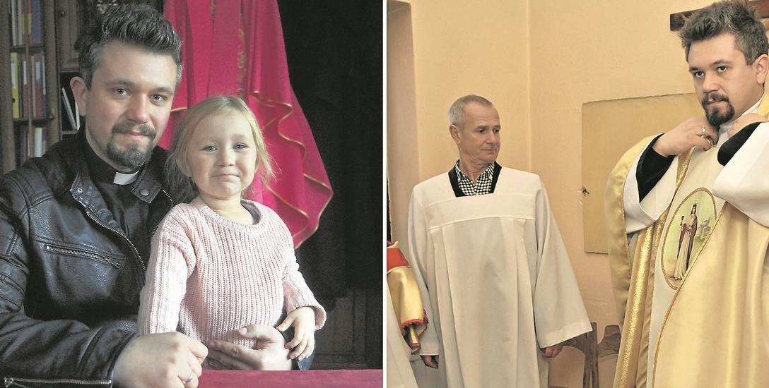 Ks. Bartosz Norman z córką - obok podczas przygotowania do nabożeństwa w Bukownie