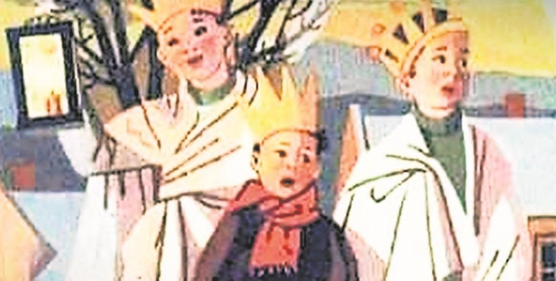 """,,Trzej Królowie"""" to obrazek z karty świątecznej Marii Gabryel-Rużyckiej, pochodzący z 1962 roku"""