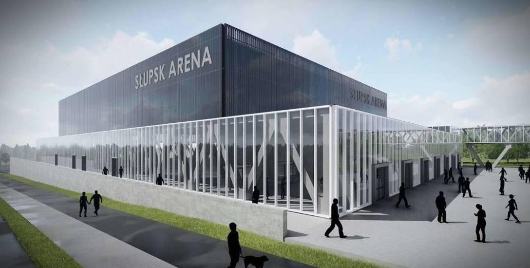 Wizualizacja planowanej hali widowiskowo-sportowej w Słupsku. Ma kosztować 42 miliony, ale połowa to dotacja od państwa, tyle że jej w tym roku nie