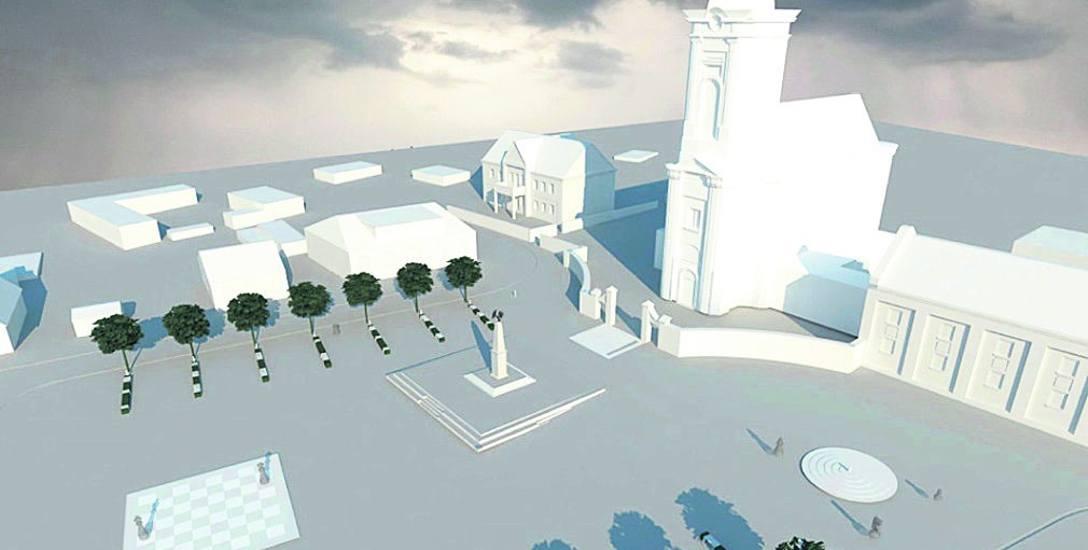 Tak w przyszłości ma wyglądać Rynek 11 Listopada w Choroszczy. Na środku stanie pomnik. Jedną z atrakcji będzie fontanna posadzkowa i szachownica.  A