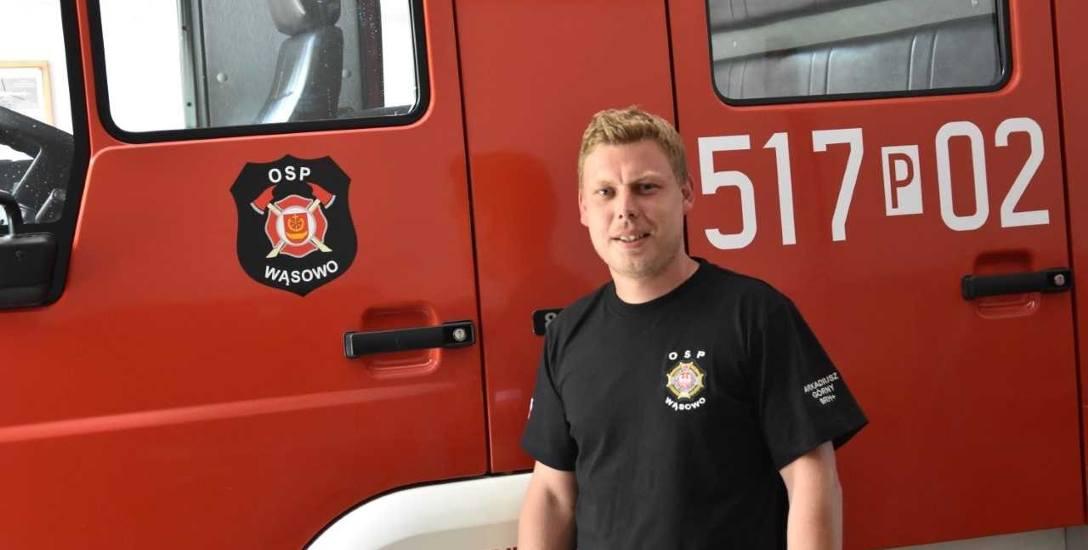Arkadiusz Górny jest ochotnikiem w OSP Wąsowo