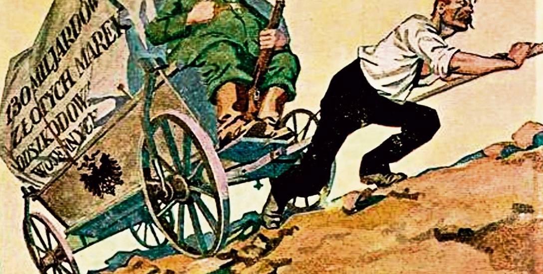 Polska pocztówka plebiscytowa przypominała głosującym, że Niemcy czeka spłacanie wojennych odszkodowań.