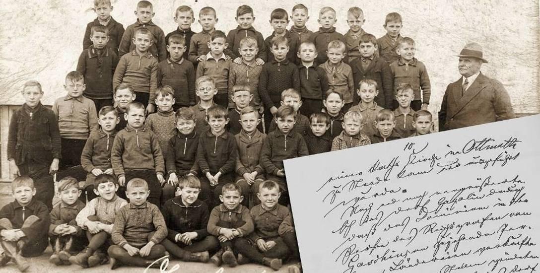 Uczniowie szkoły podstawowej w Gogolinie wraz z nauczycielem w 1939 r. Z prawej strony widać jedną z kartek ze szkolnej kroniki