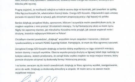 Reidar Moistad odchodzi z Energi AZS Koszalin