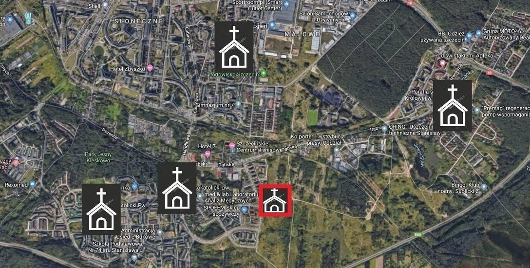 W niewielkiej odległości od planowanej budowy kościoła znajdują się już inne świątynie