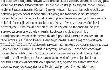 Oświadczenia na facebooku 2019. Pojawił się nowy łańcuszek. Ludzie wklejają oświadczenie na swoje FBWIĘCEJ:Oświadczenia na facebooku 2019. Pojawił się
