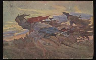 Czarownice lecą na sabat - pocztówka z pierwszej połowy XX wieku, wykonana na podstawie obrazu nieznanego autora
