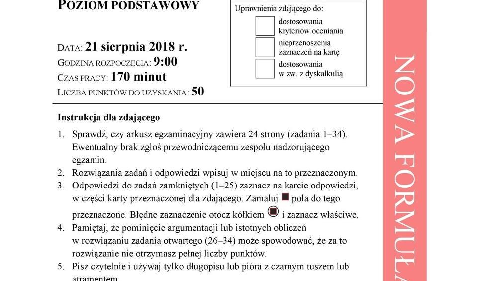 Film do artykułu: Matura POPRAWKOWA MATEMATYKA 2018: Mamy ARKUSZE CKE stara i nowa formuła