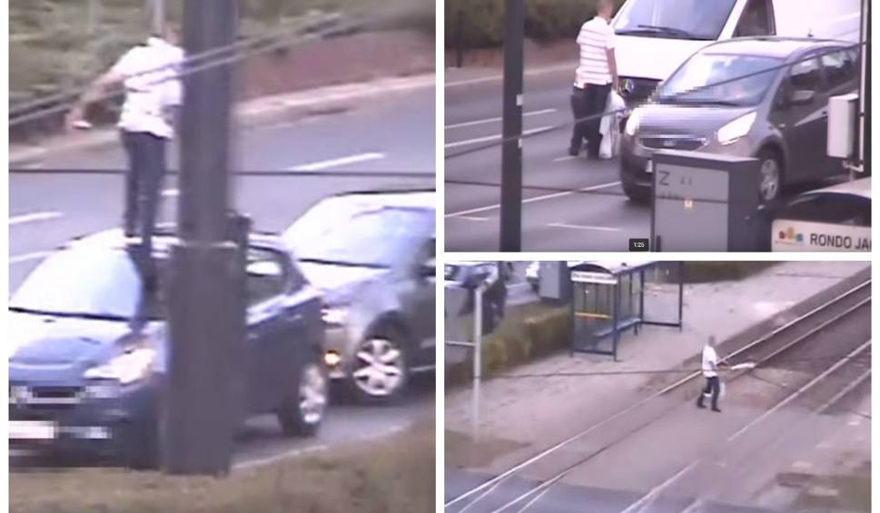 Film do artykułu: Skakał po samochodzie na bydgoskim rondzie [wideo z monitoringu]