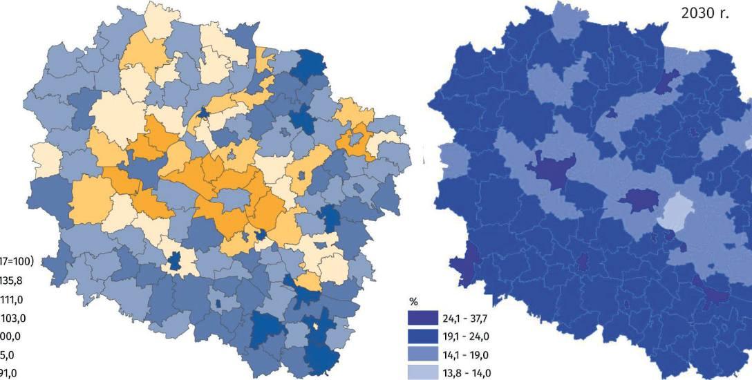 Prognoza na 2030 rok. Mapa po lewej pokazuje dynamikę zmian liczby mieszkańców w gminach. Mapa po prawej - udział seniorów (65 plus) w ogólnej liczbie