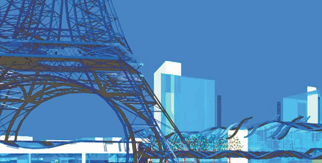 Fragment wizualizacji pierwszego, niezrelizowanego projektu zabudowy placu Papieskiego (z repliką wieży Eiffla)
