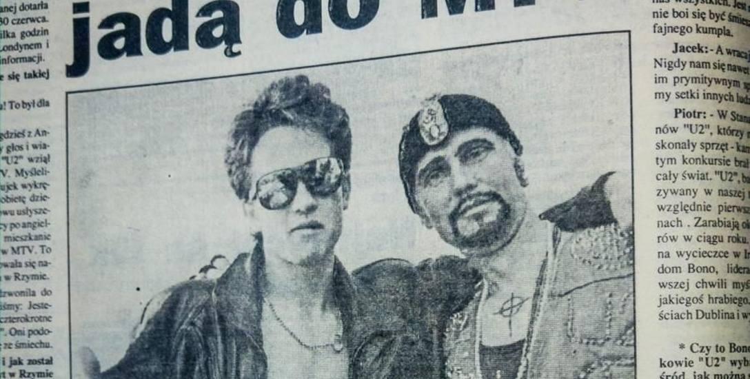 Piotr Krzywiec (z lewej) miał 19 lat, kiedy z wujkiem Jackiem Porzezińskim (z prawej) dowiedzieli się, że wygrali konkurs MTV na wideo o zespole U2.