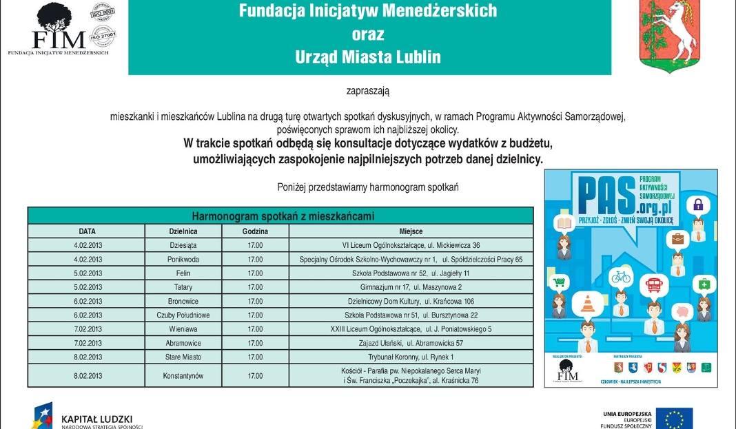 Zaproszenie Fundacji Inicjatyw Menedżerskich I Urzędu Miasta Lublin