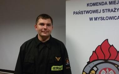 Jakub Skalmierski, KM PSP Mysłowice, starszy ratownik w stopniu mlodszego aspiranta